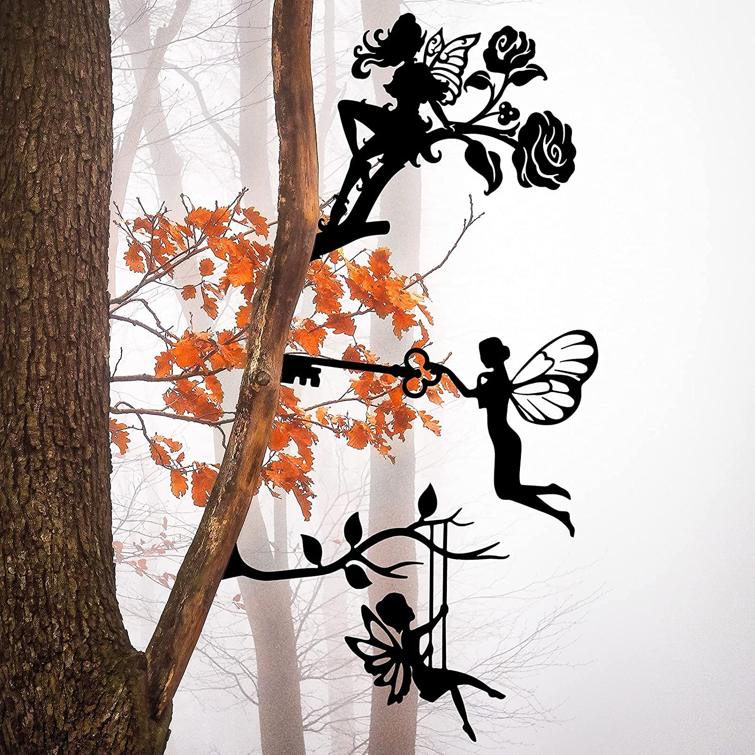 3 Pieces Fairy Silhouette Statue Metal Fairy Branch Decoration Steel Fairy Decoration Metal Craft Outdoor Garden Butterfly Flower Decor Branch Tree Metal Art for Indoor Outdoor Home Yard Patio Lawn