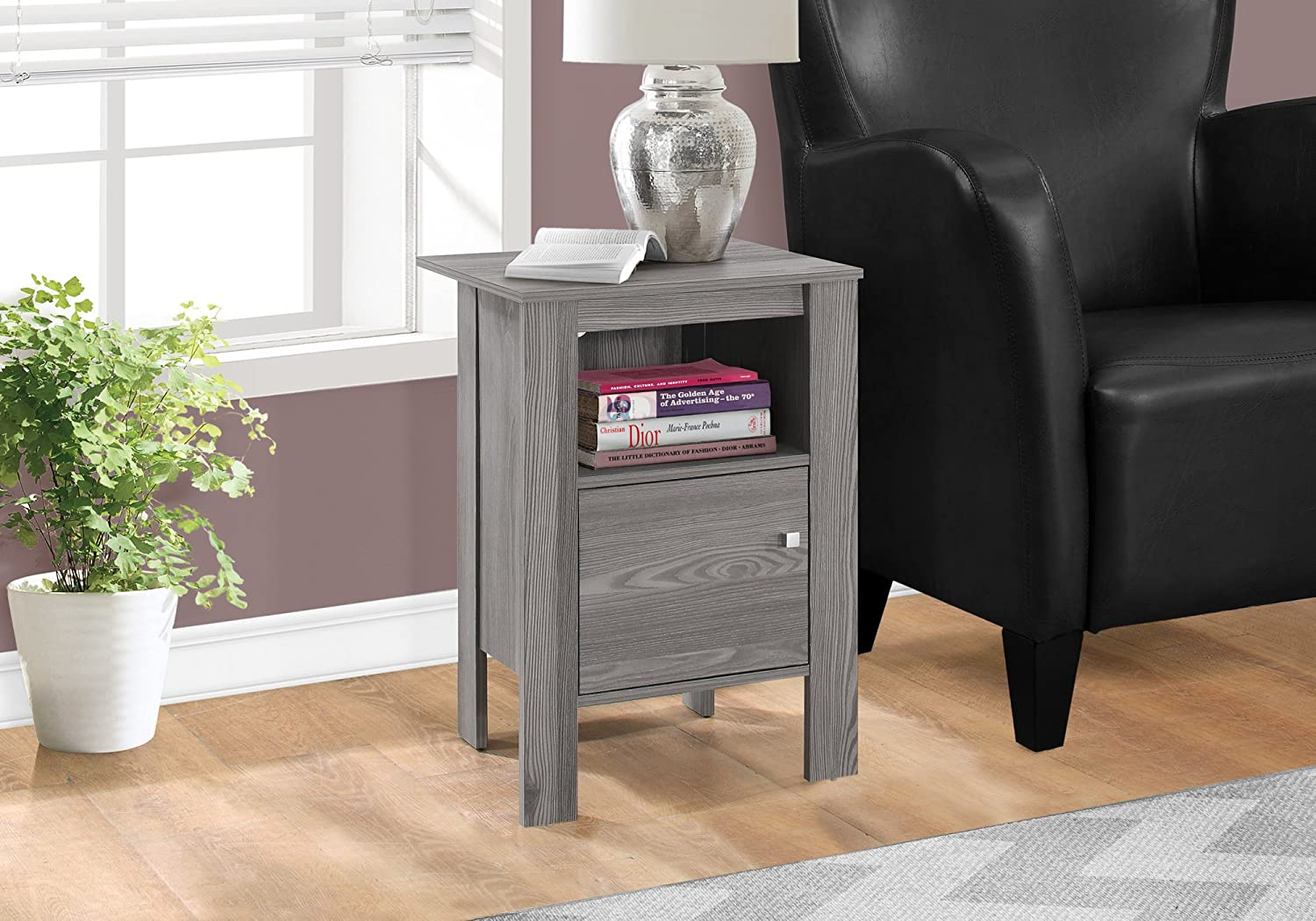 Monarch Specialties ACCENT TABLE-GREY SALENEW very popular! STAND WITH NIGHT Fashion STORAGE