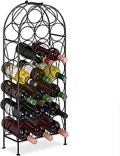 Relaxdays 10031447 casier à vin, 20 Bouteilles, étagère décorative pour Cuisine, Cave et Bar, métal, HLP 83 x 34 x 17 cm, ...