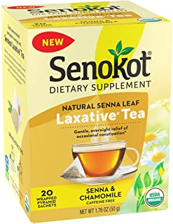 Senokot Dietary Supplement, Natural and Organic Senna Leaf, Laxative Tea for Occasional Constipation, 20 Wrapped Pyramid s...