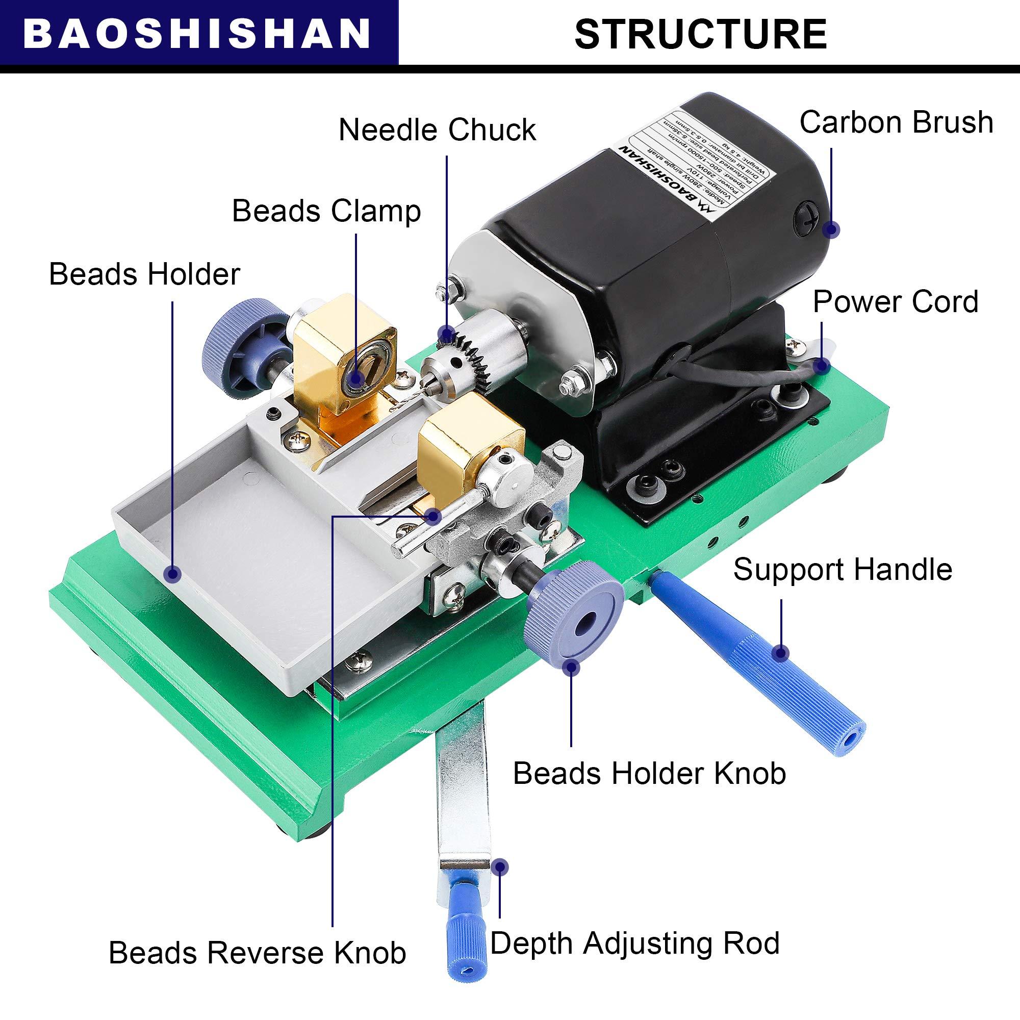 BAOSHISHAN 280W Pearl Drilling Machine Coral Driller Amber Holing Machine Upgrade Large Plastic Pallets Full Set Speed Adjustable 110V