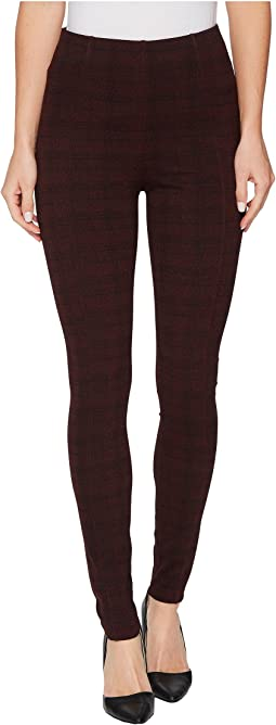 Reese Ankle Leggings with Slimming Waist Panel in Texture Plaid Ponte Knit in Petite Syrah