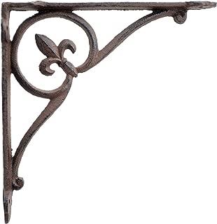 Wall Shelf Bracket Fleur De Lis in Circle Rust Brown Cast Iron Brace 7.75