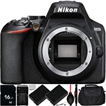 Nikon D3500 DSLR Camera (Body Only) with 9PC Accessory Bundle – Includes 16GB SD Memory Card + 2X Replacement Battery (EN-EL14) + AC/DC Rapid Home & Travel Charger + More (Renewed)