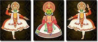 Poylaamo, Set of 3 Indian Classical Dance Wall Painting of Kathakali Colorful Faces Framed on MDF Board. Size 12X9 Inches ...