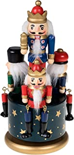 Traditional Wooden Nutcracker Wind Up Music Box | Blue, Red, Gold, and Green Kings and Soldiers | Festive Christmas Decor | 8