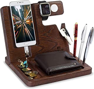 Wood Phone Docking Station Key Holder Oak Wallet Stand Watch Organizer Men Gift Husband Wife Anniversary Dad Birthday Nightstand Tablet Father Graduation Male Travel Brown Tesbk