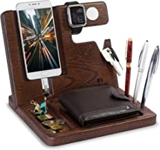 Natural Oak Wood Phone Docking Station Key Holder Wallet Watch Stand Watch Organizer Men Gift Husband Wife Anniversary Dad Birthday Nightstand Purse Father Graduation Male Travel Idea Gadgets Solid