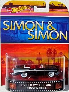 Hot Wheels '57 Chevy BEL AIR CONVERIBLE Simon & Simon 2014 Retro Series 1:64 Scale Collectible Die Cast Metal Toy Car Model