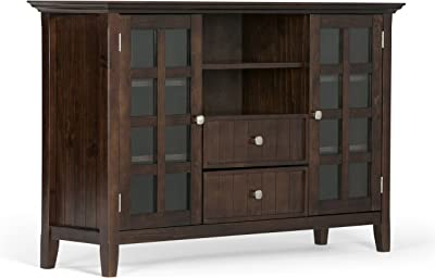 Amazon Com Simplihome Acadian Solid Wood Universal Tall Tv Media Stand 53 Inch Wide Farmhouse Rustic Living Room Storage Shelves And Cabinets For Flat Screen Tvs Up To 60 Tobacco Brown Furniture