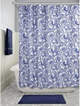 InterDesign Mosaic Vine Fabric Shower Curtain, Polyester Shower Curtain, Blue/Navy