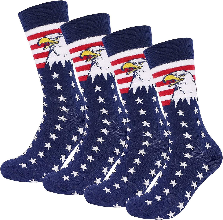 American Flag Socks for Men, Patriotic Fun Socks Stars Stripes Eagle Patterned, Funny Groomsmen Dress Socks Novelty Gift