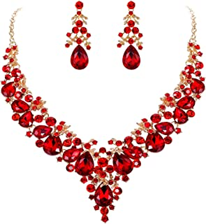EVER FAITH Women's Crystal Elegant Bridal Floral Cluster Teardrop Statement Necklace Earrings Set