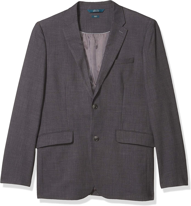 Perry Ellis Men's Slim Fit Stretch Sharkskin Suit Jacket, Charcoal, Large/42 Long