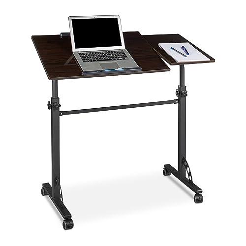 Relaxdays Table ordinateur portable hauteur réglable roues table bout de canapé lit bois- noir- HxlxP : 110 x 100 x 50 cm