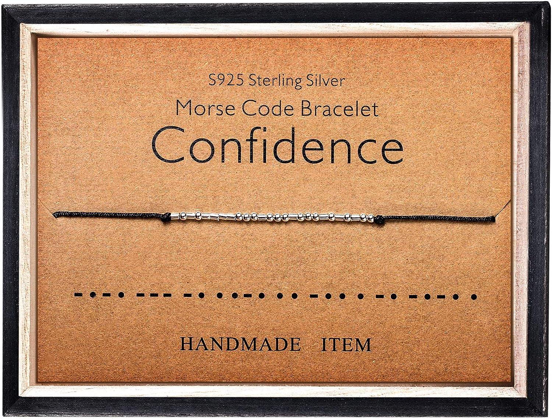 Morse Code Bracelet 925 Sterling Silver Beads on Silk Cord Secre