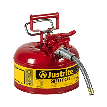 """Justrite 7210120 AccuFlow 1 Gallon, Galvanized Steel Type II Red Safety Can With 5/8"""" Flexible Spout: image"""
