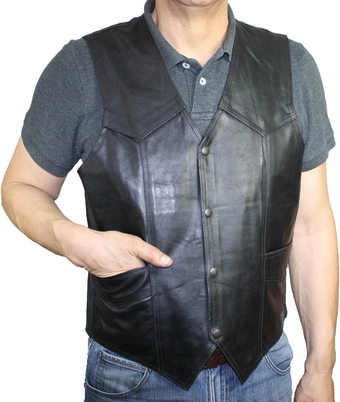 Men's Genuine Soft Cow Hide Rough Distress Leather Wester Biker Vest