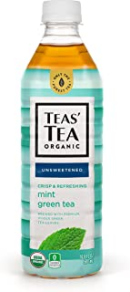 Teas' Tea Unsweetened Mint Green Tea 16.9 Ounce (Pack of 12) Organic Zero Calories No Sugars No Artificial Sweeteners Antioxidant Rich High in Vitamin C