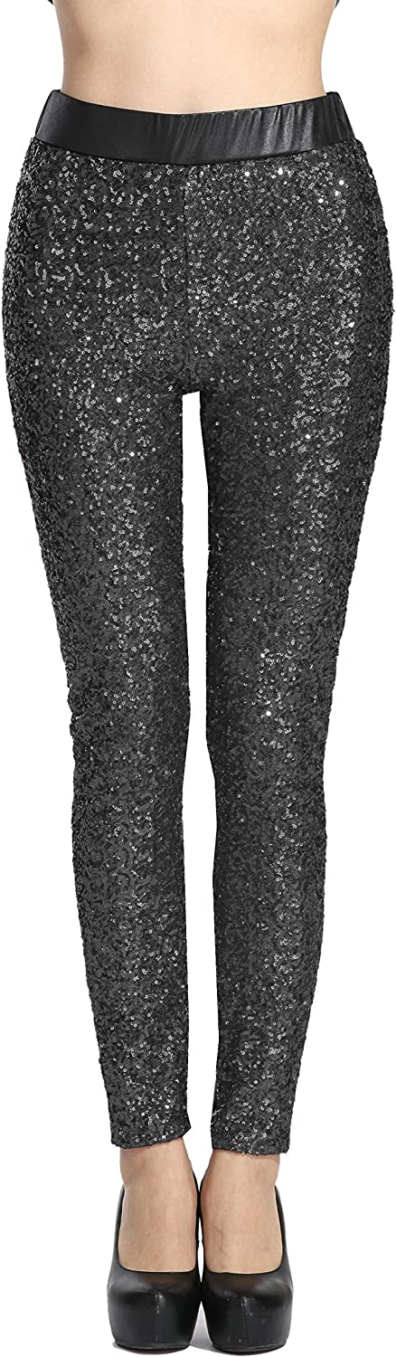 SOSITE Women's Shiny Sequins Faux Leather Leggings Pants Stretch Long Trousers
