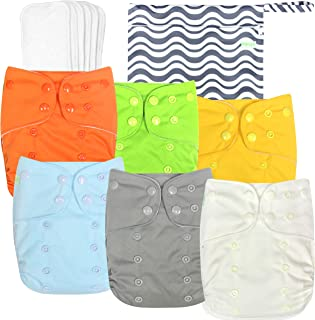 Washable Reusable Baby Cloth Pocket Diapers 6 Pack + 6 Inserts + 1 Wet Bag/Muslin Receiving Blanket