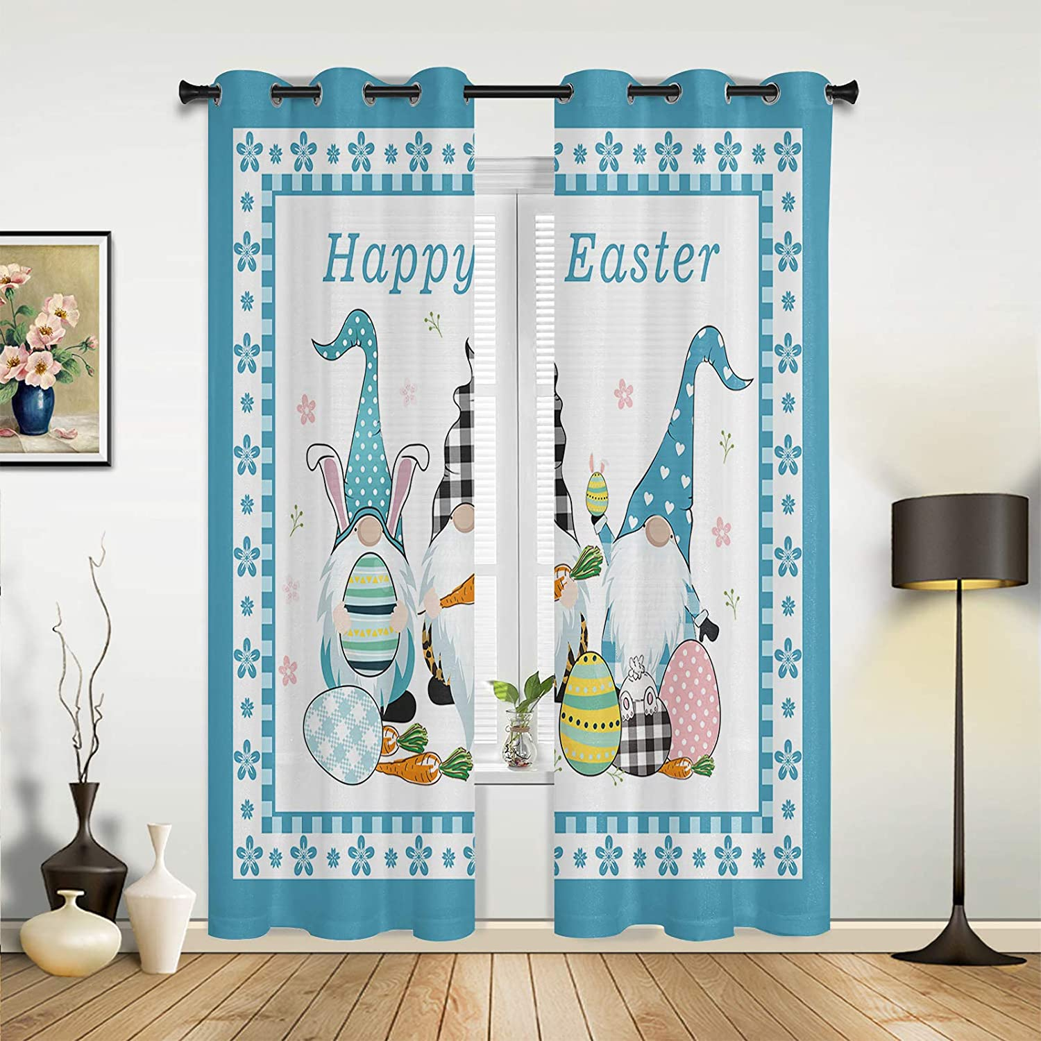 Window New product! New type Sheer Curtains for Bedroom Happy Living Room Latest item Funny Easter