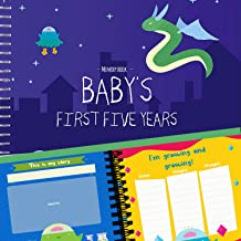 Baby Boy's First 5 Year Memory Book - Album Includes Stickers, Frames to Add Your Children Birthday Pictures, Keep Track Doctor's Visits & More - Monster Edition. Best Baby Shower Gifts