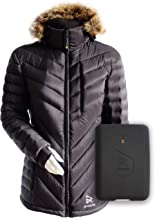 Ravean 100% Down Heated Jacket for Women w/Detachable Hood & Rechargeable 12v Battery