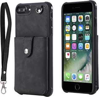 iPhone 8 Plus Wallet case iPhone 7/6 Plus LEMY JOURNEY Mirror PU Leather Case with Credit Card Holder Slot Wrist Strap for Apple iPhone 8/7/6 Plus(Mirror-Black)