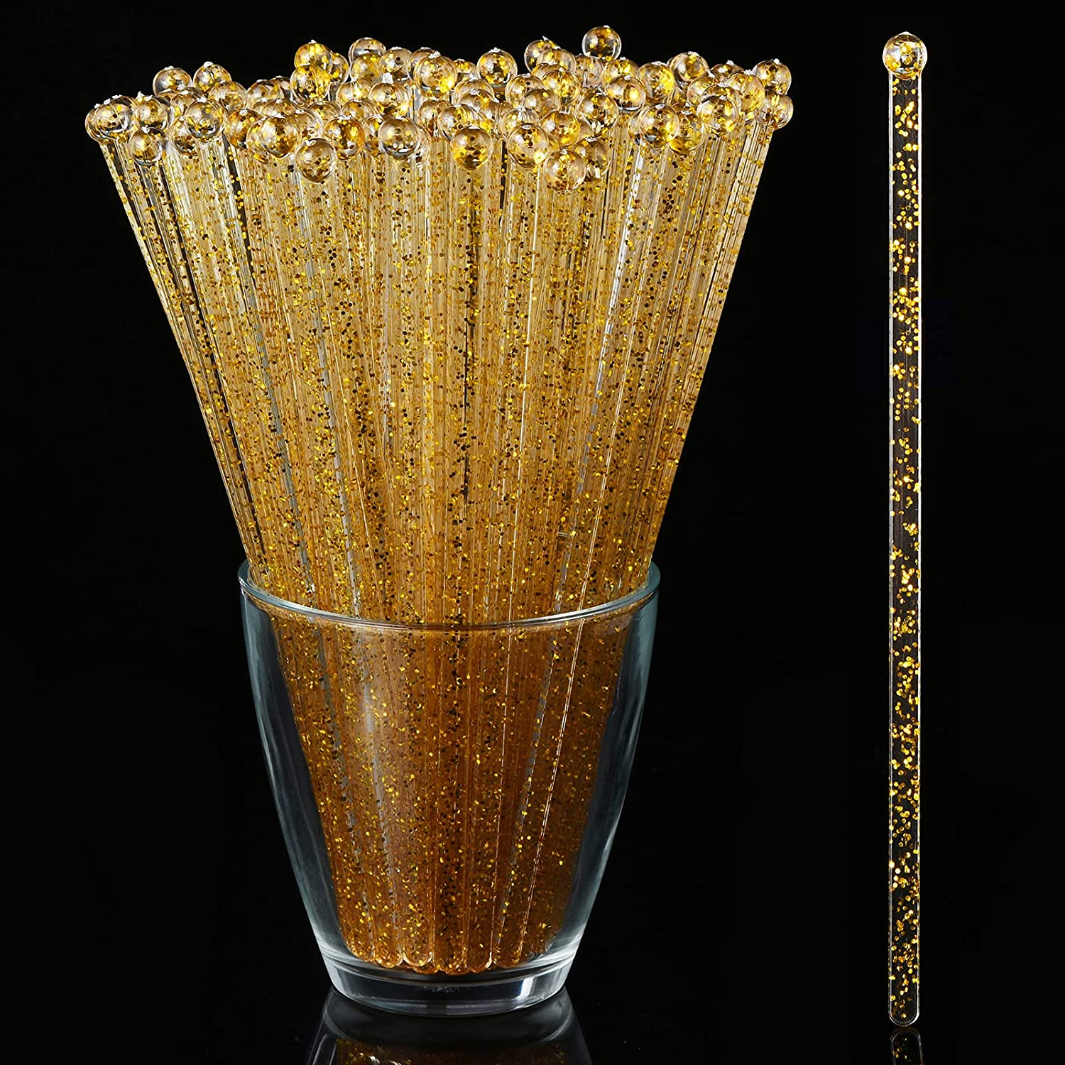 ALINK 125-Pack Gold Glitter Plastic Swizzle Sticks, Crystal Cake Pops, Cocktail Coffee Drink Stirrers, 7.24 Inch : Home & Kitchen