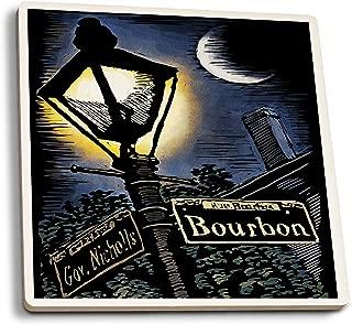 Lantern Press New Orleans, Louisiana - Bourbon Street Lamppost - Scratchboard (Set of 4 Ceramic Coasters - Cork-Backed, Absorbent)