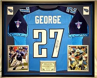Premium Framed Eddie George Autographed/Signed Tennessee Titans Jersey - JSA COA