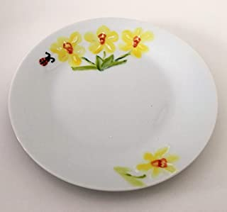 MaJe ceramista plato porcelana pintado a mano narciso amarillo.