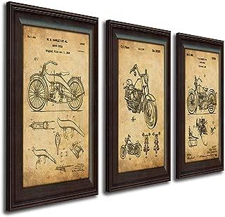Harley Davidson Patent Prints - Framed Behind Glass 14x17 (Three Bikes - 3pc Set)