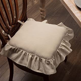Piper Classics Ruffled Chambray Natural Chair Pad, 15x15, Farmhouse Style Chair Cover