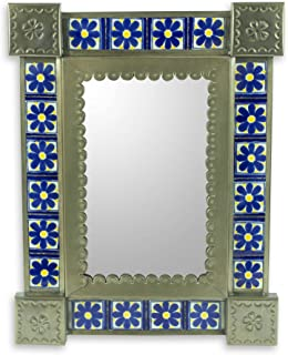 NOVICA Blue Floral Tile Ceramic and Tin Wall Mounted Mirror, Mexican Wildflowers'
