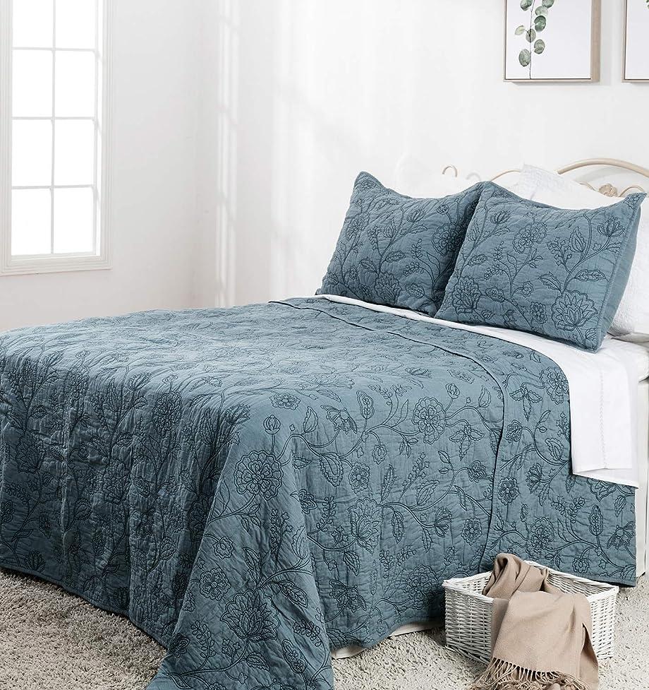 模索想像力豊かな溶けるElegant Life キルト/ベッドカバー 綿100% リバーシブル ナイトブロッサム 刺繍  King Quilt ブルー 43237-2