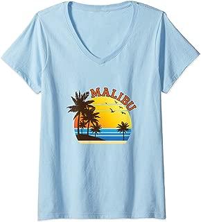 Womens Malibu Rum CA California Beach T-Shirt Surf Travel Souvenir V-Neck T-Shirt