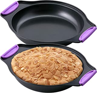 """Amazing Abby - Chef Stacy - 2-Pack 8"""" x 8"""" Non-Stick Round Cake Pan with Heat-Resistant BPA-Free Silicone Handle Grips, Ov..."""