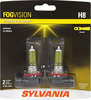 SYLVANIA - H8 Fog Vision - High Performance Yellow Halogen Fog Lights, Sleek Style & Improved Safety, Street Legal, For Fog Use Only (Contains 2 Bulbs)