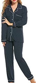 Pajamas Set Long Sleeve Sleepwear Womens Button Down Nightwear Soft Pj Lounge Sets XS-XXL