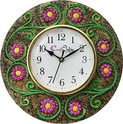 eCraftIndia Handcrafted Antique Design Papier-Mache Wooden Wall Clock