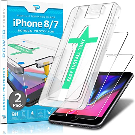 Power Theory Screen Protector for iPhone 8 / iPhone 7 [2-Pack] with Easy Install Kit [Premium Tempered Glass]