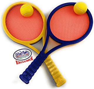 Matty's Toy Stop Waterproof Plastic & Mesh Paddle Ball Racquets Game Set with 2 Multi-Color Paddles (Blue/Yellow/Orange) & 2 Foam Tennis Balls (Yellow)