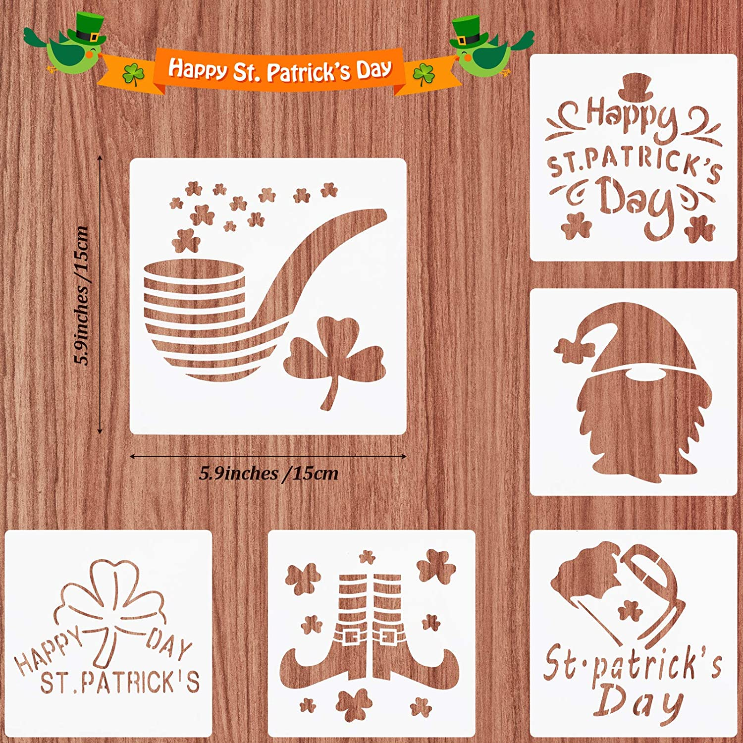 24 Pieces St Patricks Day Painting Stencils Shamrock Clover Painting Templates Reusable Plastic Drawing Stencils for Craft Window Glass Wall Door Card Scrapbook Notebook Holiday Art 4 x 4 Inch