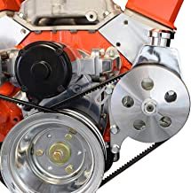ICT Billet SBC Power Steering Bracket Pump Bracket Electric Water Pump Billet 350 Small Block Chevy Adjustable 551360