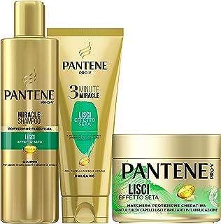 Pantene Pro-V Lisci Effetto Seta 1 Miracle Shampoo 250ml + 1 Balsamo Capelli 3 Minute Miracle 150ml +1 Maschera Capelli 30...