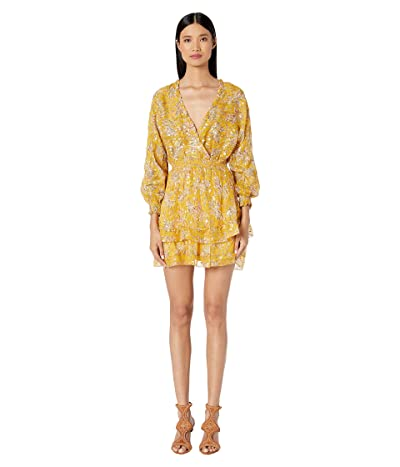 The Kooples Gold Floral Print Short Dress (Multi) Women