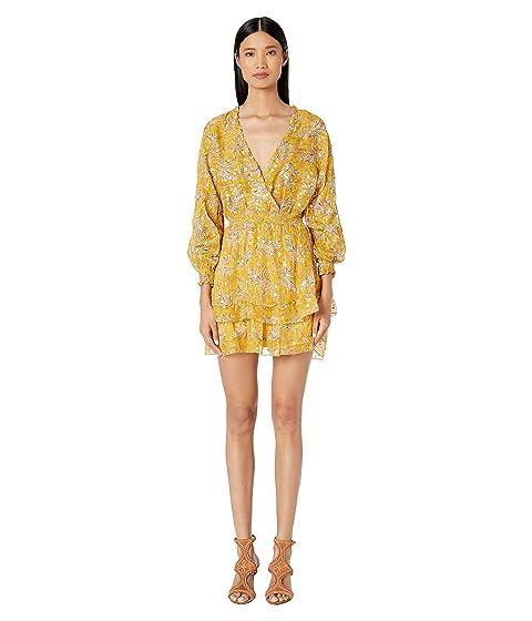 The Kooples Gold Floral Print Short Dress