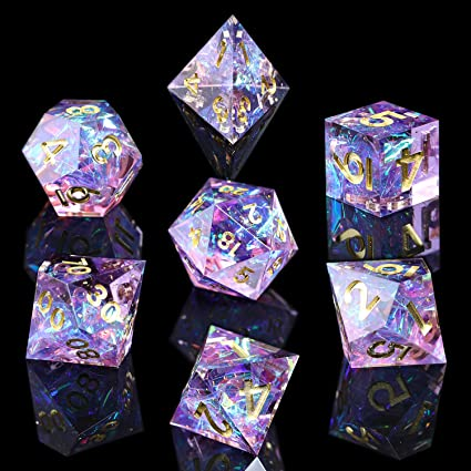 Amazon.com: AUSPDICE RPG Dice Set, DND 7PCS Handmade Mirror Polyhedral Dice  Set for D&D Dungeons and Dragons Table Games Role Playing Rolling (Purple  Color) : Toys & Games